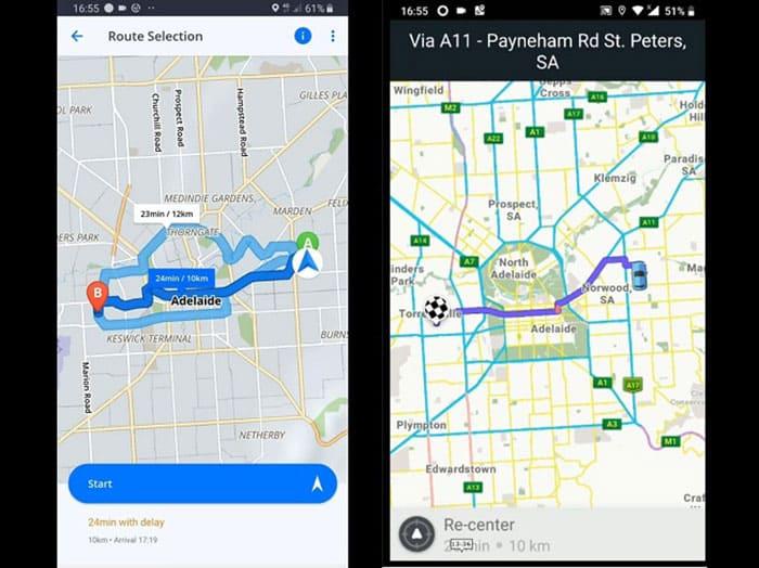Sygic and Waze Interface