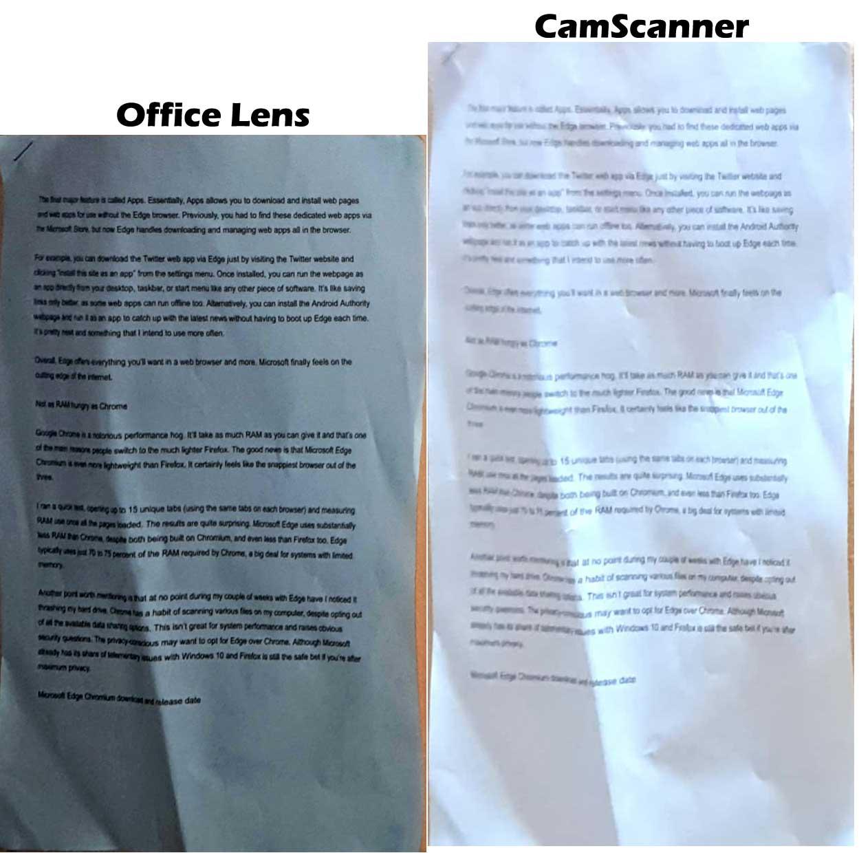 Angle Capture - Office Lens vs CamScanner