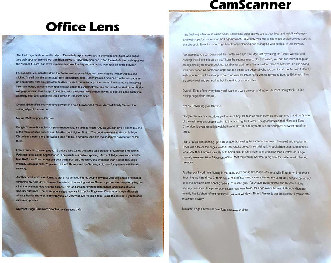 Document Quality of Office Lens and CamScanner