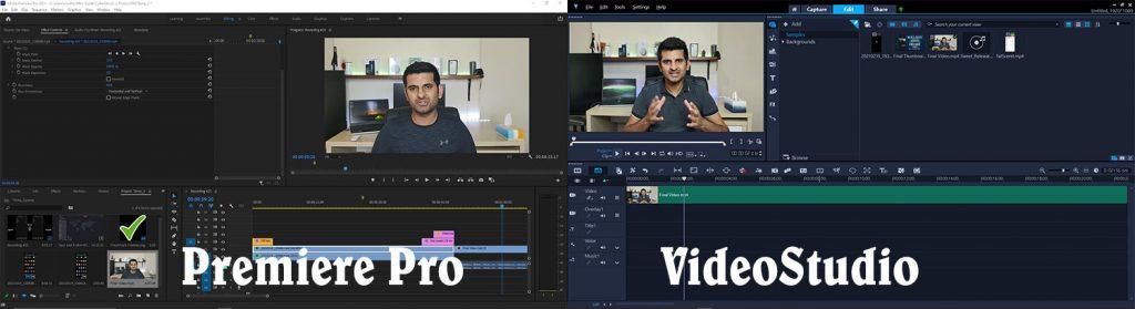 Adobe Premiere Pro and Corel VideoStudio Interface
