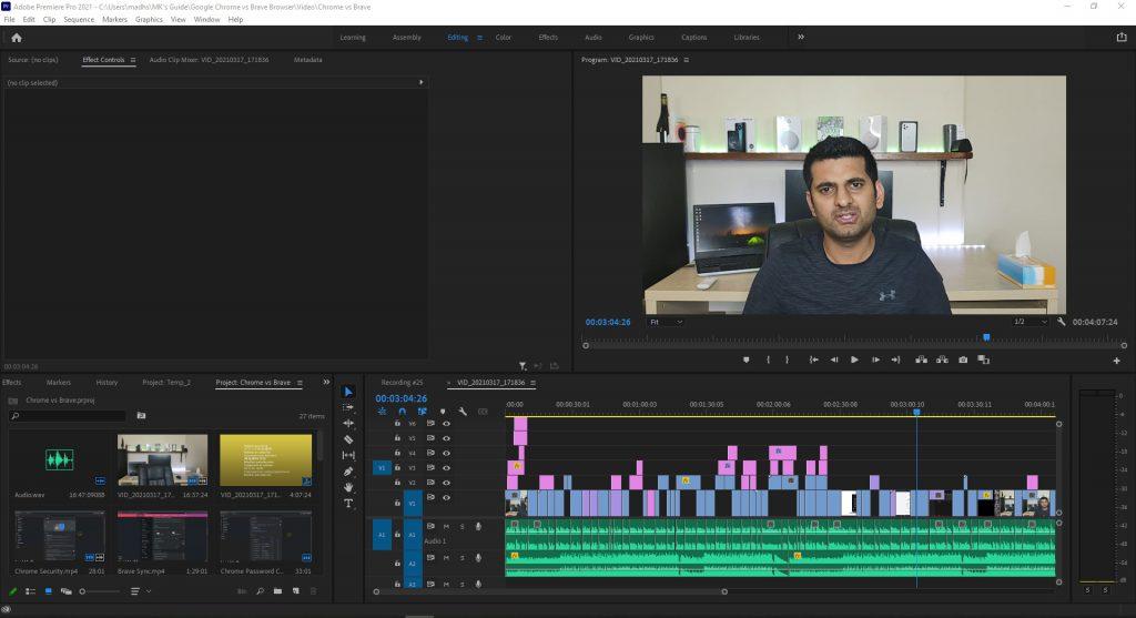 Premiere Pro Editing Workspace