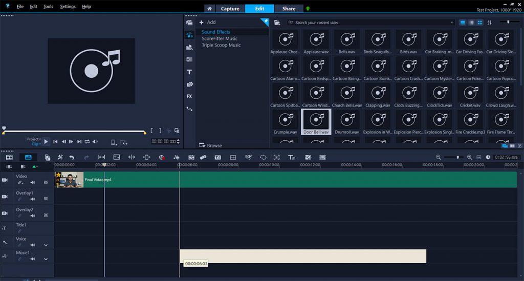VideoStudio Sound Tracks